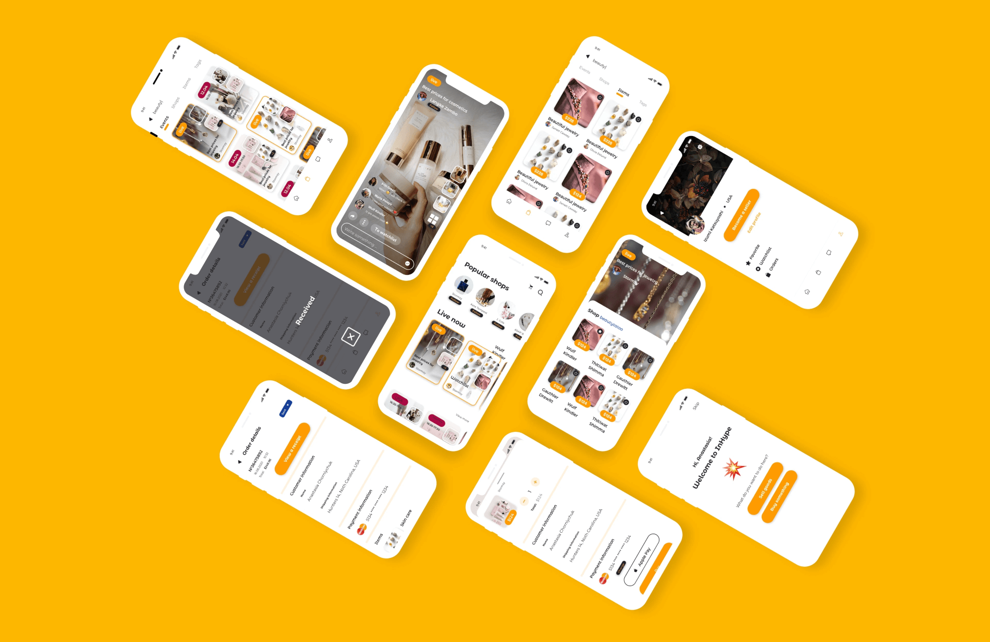 Mobile app UI for inHype case study>